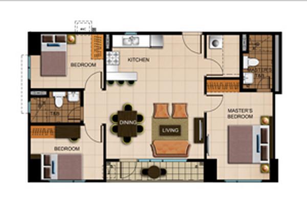 Avida Atria Storeys Three Bedroom Floor Plan