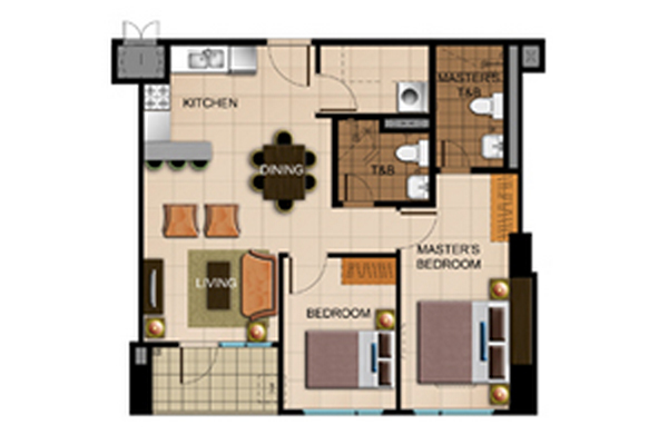 Avida Atria Storeys Two Bedroom Floor Plan